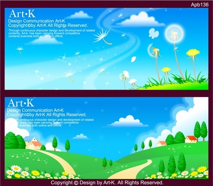 landscape background sets colorful modern cartoon design