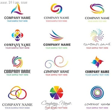 corporate logotypes colorful simple abstract design
