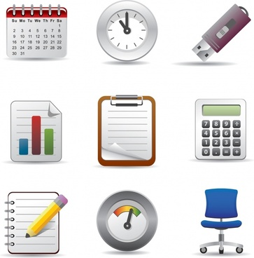 stationery icons shiny colored modern design