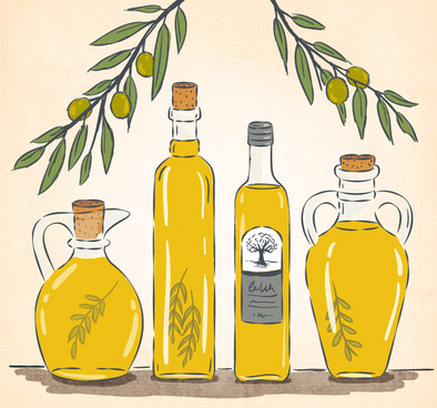 beautifully painted olive oil vector