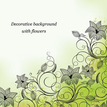 decorative background botany sketch classical curved design