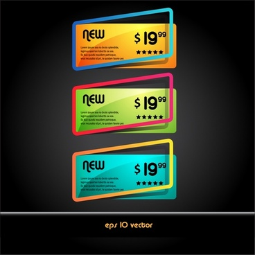 price tags template modern colorful frames sketch