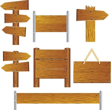beautifully realistic wood signs vector 2