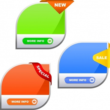sale tags templates modern colored rounded shapes