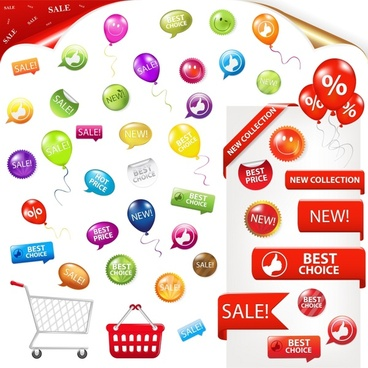 sales design elements colorful tags cart shapes