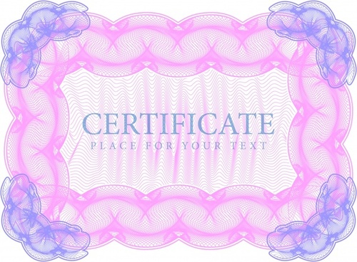 certificate frame template symmetric design seamless curves ornament
