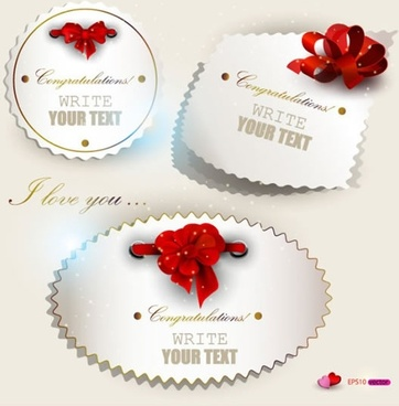 beautifully valentine bow label vector