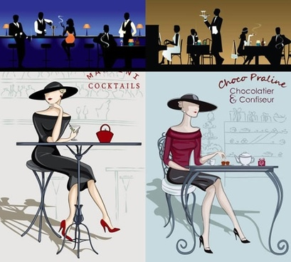 restaurant backgrounds elegant design silhouette classical sketch