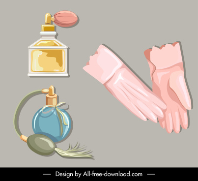 beauty care icons perfume gloves sketch retro design