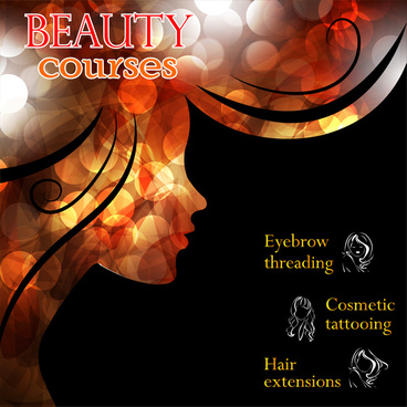 beauty course banners design with bokeh abstract background