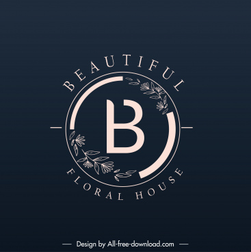 beauty logo template botanical sketch dark elegant circle