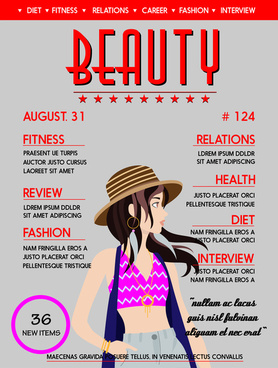 beauty magazine cover vector design with fashionable lady