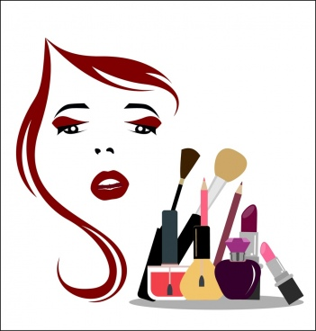 beauty makeup background accessories icons woman sketch decor