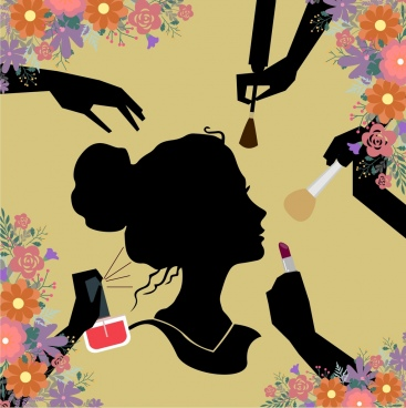 beauty makeup background human silhouettes style colorful flowers ornament