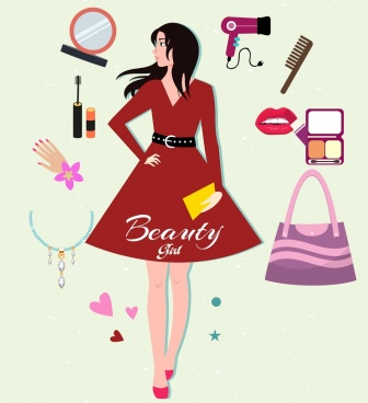 beauty makeup design elements personal accessories girl icons