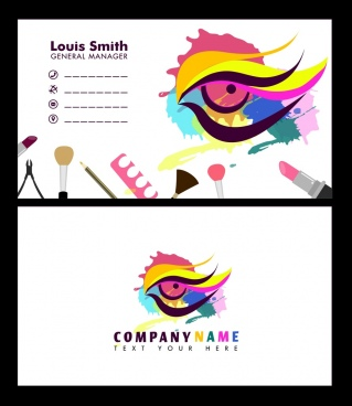 beauty name card template colorful makeup eye ornament