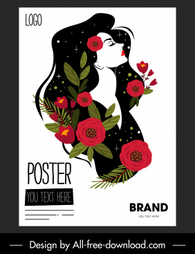 beauty poster woman floral sketch colorful classical decor