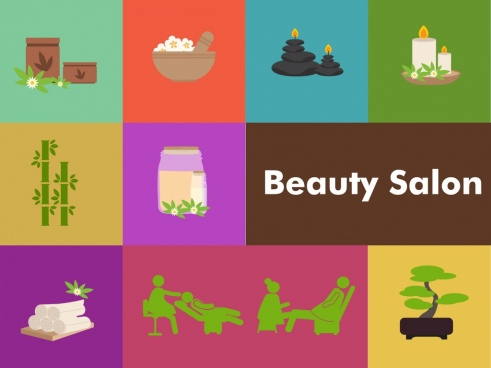 beauty salon design elements spa icons isolation