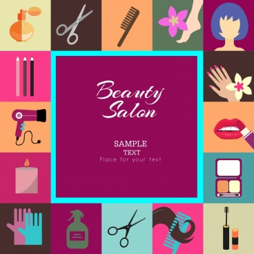 beauty salon design elements various colored tools symbols
