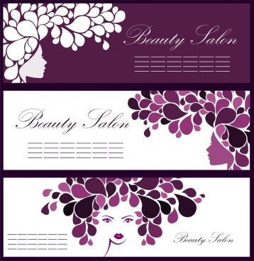 beauty salon leaflet sets woman flowers sketch ornament