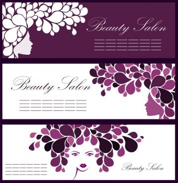 beauty salon leaflet sets woman flowers sketch ornament