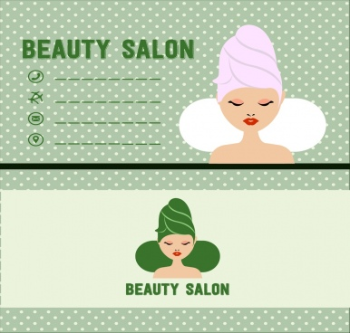 beauty salon name card template spa woman icon
