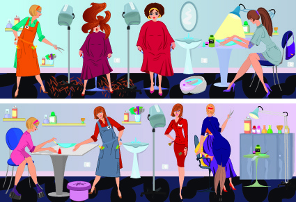 beauty salon workers design vector