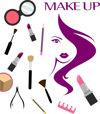 beauty salong background makeup accessories icons woman sketch