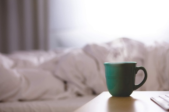 bed bedroom beverage blur bowl breakfast coffee cup