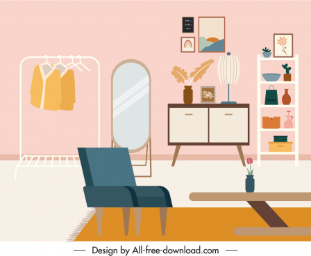 bed room decor template colorful elegant sketch