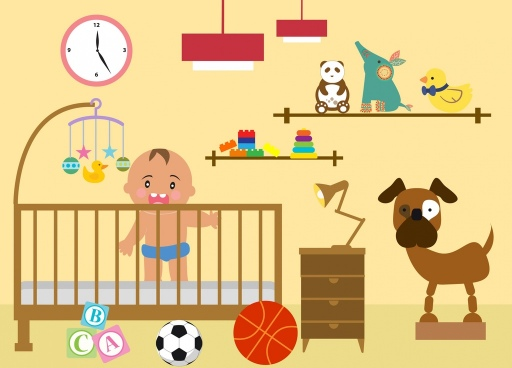 bedroom layout toys decor baby icon