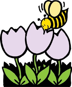 Bee And Flowers clip art
