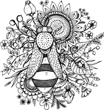 bee flowers hand drawn vector
