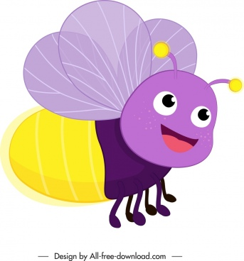 bee insect creature icon colorful lovely stylized cartoon