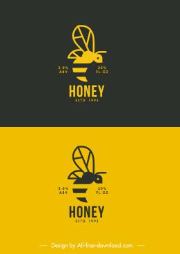 bee logo template black yellow flat sketch