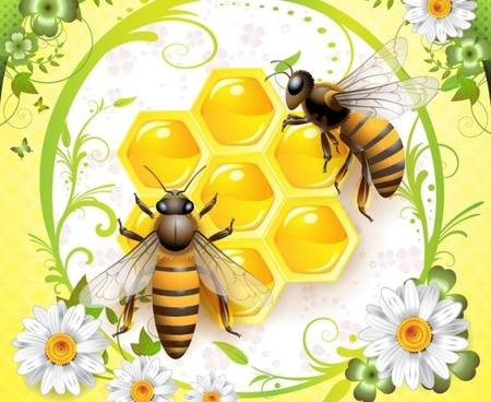 honey background bees beehive flowers decoration multicolored design