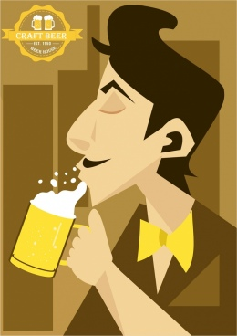 beer advertisement man drinking icon cartoon design