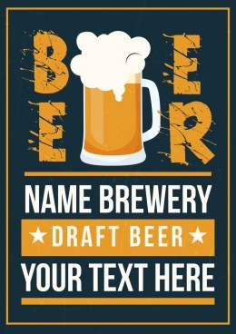 beer advertisement template retro design texts foam glass