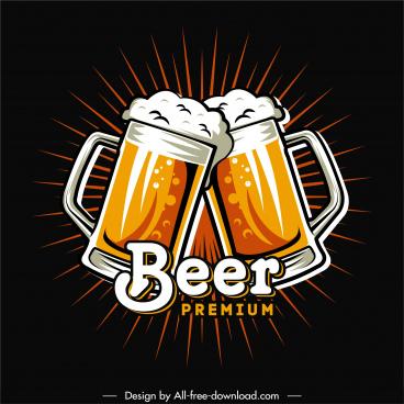 beer advertising banner dark retro clinking glasses sketch