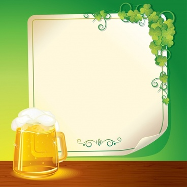 beer menu background shiny bright modern glass leaves