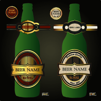 beer bottles and beer labels vector