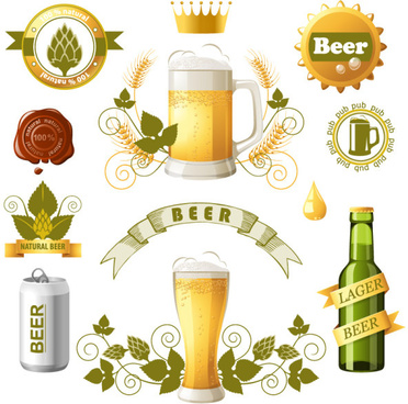 beer bottles with beer labels vector