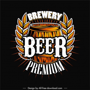 beer brewery logo template retro handdrawn barrel oats