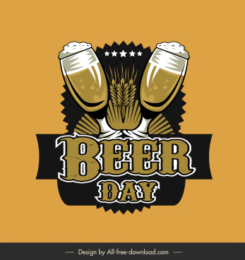 beer day design elements classical glasses wheat decor