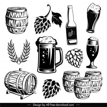 beer design elements black white classic handdrawn symbols