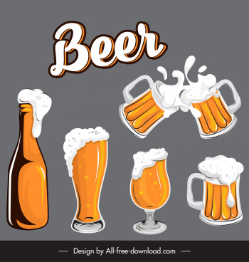 beer design elements foam bottles cups glasses sketch