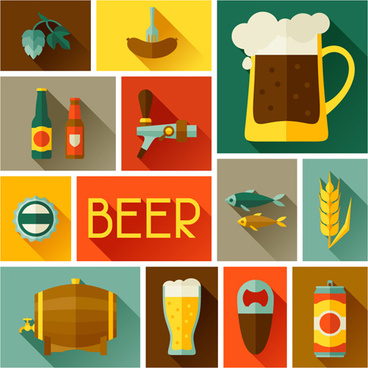 beer elements flat icons vector set