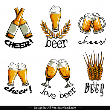 beer festive logotypes classical clinking glasses wheat sketch