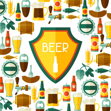 beer flat style background vector design
