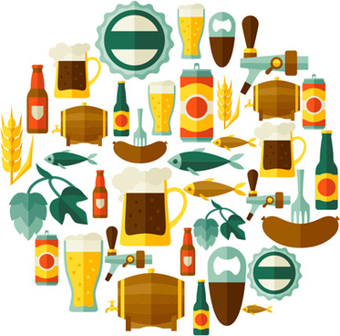 beer flat style background vector design